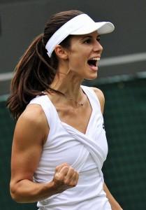 Bulgarian player Tsvetana Pironkova reac